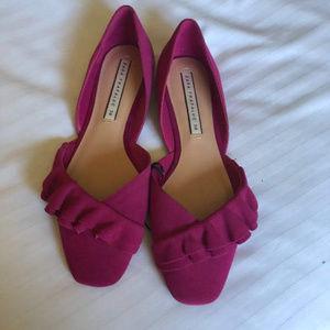Zara Pink Suede Leather Ruffle Detail Ballerinas 8